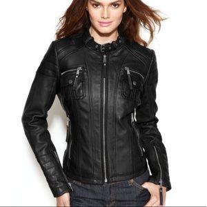 Michael Kors Leather Moto Biker Jacket